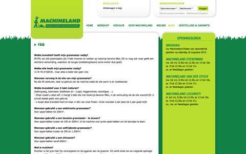 Screenshot of FAQ Page machineland.be - FAQ   Machineland - captured Oct. 9, 2014