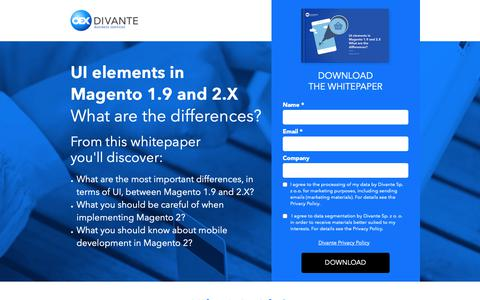 Screenshot of Landing Page divante.co - UI elements in   Magento 1.9 and 2.X - captured Oct. 12, 2018