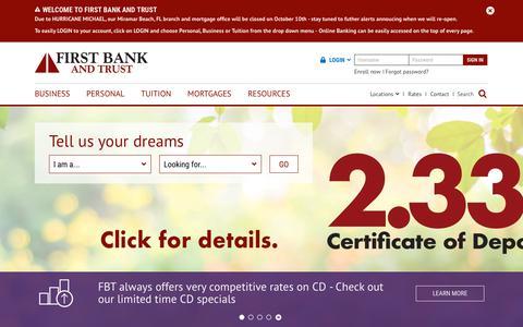 Screenshot of Home Page fbtonline.com - Banking & Loans | LA, FL, MS Bank | First Bank & Trust - captured Oct. 10, 2018