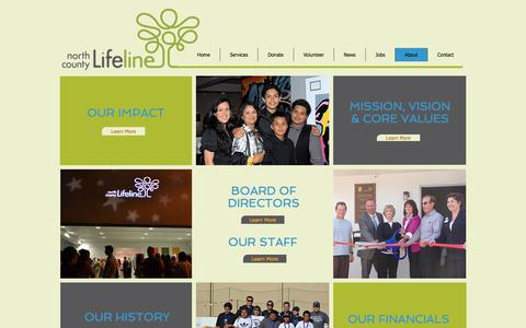 Screenshot of About Page nclifeline.org - North County Lifeline - About - captured Oct. 19, 2017