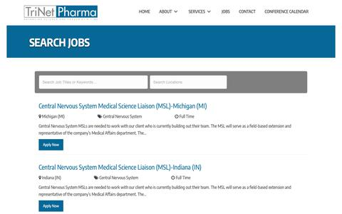 Screenshot of Jobs Page trinetpharma.com - Search Jobs - TriNet Pharma - Permanent and Contract MSLs Jobs - captured Oct. 20, 2018