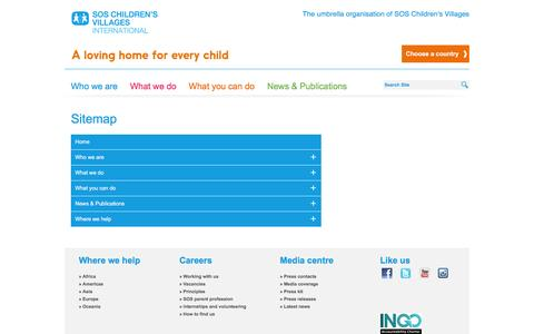 Screenshot of Site Map Page sos-childrensvillages.org - Sitemap - SOS Children's Villages International - captured July 21, 2016