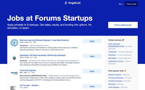 Jobs at Forums Startups - AngelList