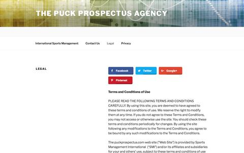 Screenshot of Terms Page puckprospectus.com - Legal | The Puck Prospectus Agency - captured Aug. 15, 2017