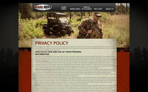 Screenshot of Privacy Page badboybuggies.com - Privacy Policy - captured Oct. 5, 2014
