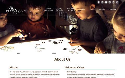 Screenshot of About Page klaschools.com - About Us | KLA Schools - captured Sept. 8, 2019