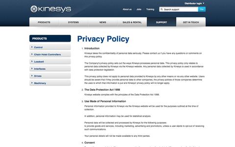 Screenshot of Privacy Page kinesys.co.uk - Kinesys - captured Sept. 30, 2014