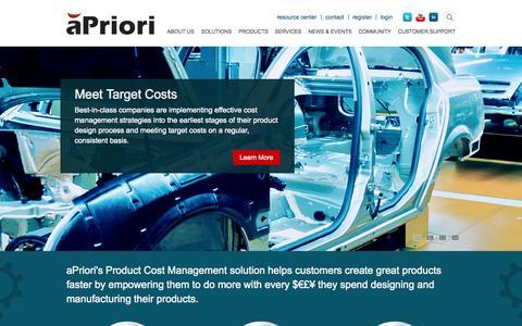Screenshot of Home Page apriori.com - aPriori | Improving Your Profitability through Enterprise Product Cost Management - captured Jan. 23, 2015