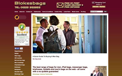 Screenshot of Home Page blokesbags.co.uk - Briefcases, Holdalls, Messenger Bags & Mens Shoulderbags from Blokesbags | Blokesbags - captured Sept. 30, 2014