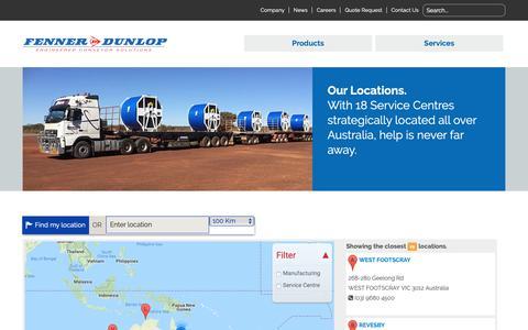 Screenshot of Maps & Directions Page fennerdunlop.com.au - Map | Fenner Dunlop - captured Oct. 10, 2018