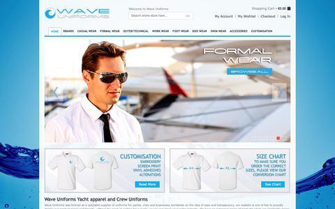 Screenshot of Home Page waveuniforms.com - Wave Uniform, specialists in yacht crew Uniforms & accessories. - captured Oct. 18, 2018