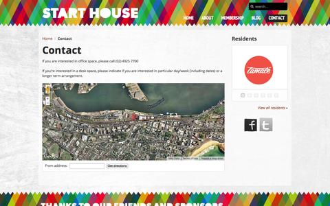 Screenshot of Contact Page starthouse.com.au - Contact - Start House, Newcastle NSW - captured Sept. 26, 2014