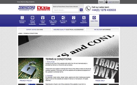 Screenshot of Terms Page dencon.co.uk - Dencon Accessories - Terms & Conditions - captured Feb. 9, 2016