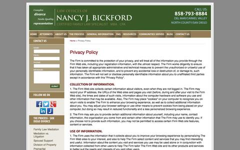 Screenshot of Privacy Page bickfordlaw.com - San Diego Divorce Attorney :: Privacy Policy :: San Diego County Family Law Lawyer - captured Oct. 27, 2014