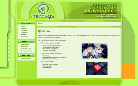 Screenshot of Services Page micasys.fr - Services   Micasys.fr - captured Oct. 27, 2014