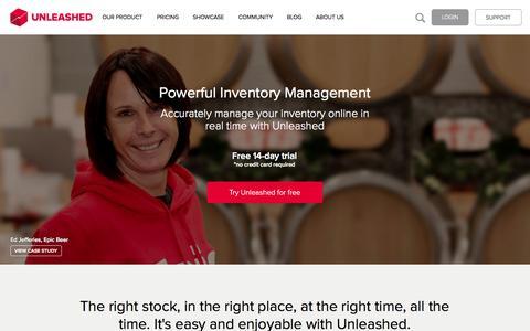 Screenshot of Home Page unleashedsoftware.com - Online Inventory Management Software | Unleashed - captured Jan. 15, 2015