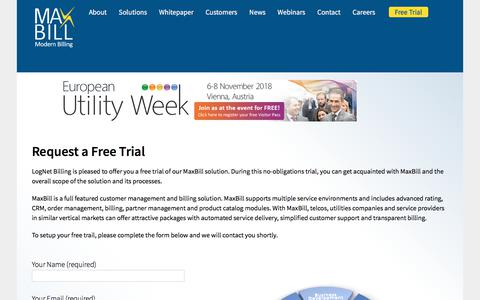 Screenshot of Trial Page maxbill.com - Request a free trial - MaxBill - captured Sept. 20, 2018
