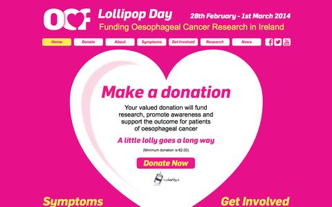 Screenshot of Home Page lollipopday.ie - Lollipop Day 2014: 28 February to 1st March 2014 - funding Oesophageal Cancer research Ireland - Oesophageal Cancer Fund - captured Oct. 1, 2014