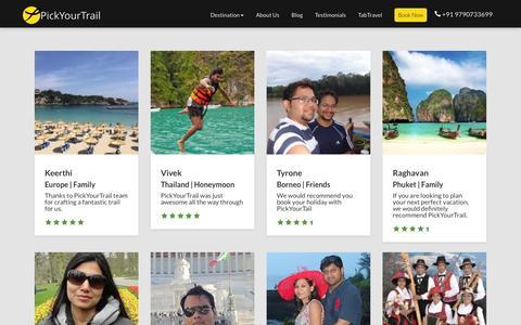 Screenshot of Testimonials Page pickyourtrail.com - Travel Testimonials | PickYourTrail - captured Dec. 7, 2015