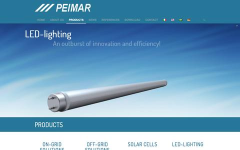 Screenshot of Products Page peimar.com - Products | Peimar - Solar Panels and LED-Lighting - captured July 12, 2016