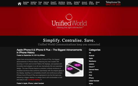 Screenshot of Press Page unifiedworld.co.uk - Unified World Communications | Making the right connections - captured Oct. 9, 2014