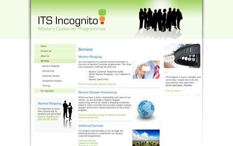 Screenshot of Services Page itsincognito.com - ITS Incognito: Mystery Shopper & Quality Assessment services for the Hospitality industry - captured Oct. 3, 2014