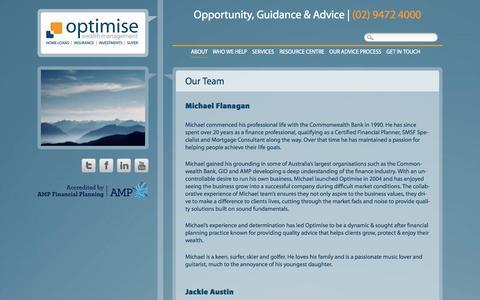 Screenshot of Team Page owm.com.au - Our Team | Optimise Wealth Management - captured Oct. 26, 2014