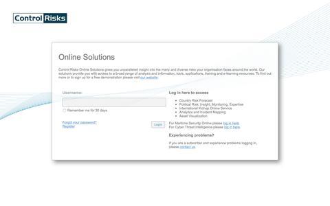 Control Risks | Online Solutions