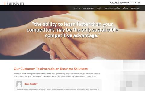 Screenshot of Testimonials Page tandem.ae - Our Customer Testimonials on Business Solutions | Tandem.ae - captured Sept. 20, 2018
