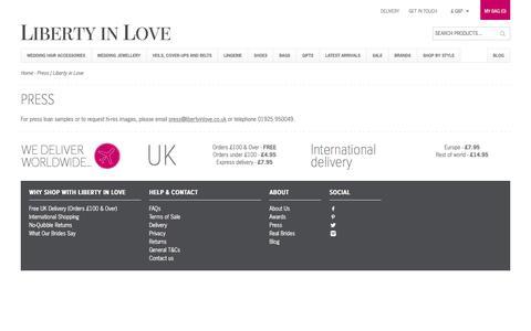 Screenshot of Press Page libertyinlove.co.uk - Press | Liberty in Love - captured Jan. 29, 2016