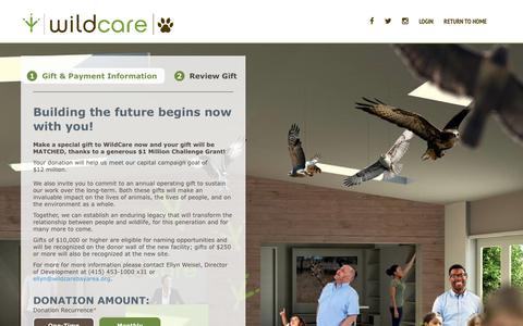 Screenshot of Support Page convio.net - WildCare   -  Donate to WildCare - captured July 1, 2017