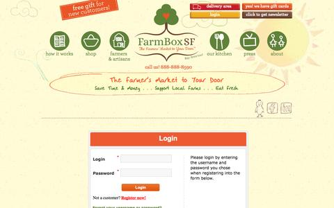 Screenshot of Login Page farmboxsf.com - FarmBox - The Farmer's Market to Your Door  :: Warning - captured Sept. 22, 2014