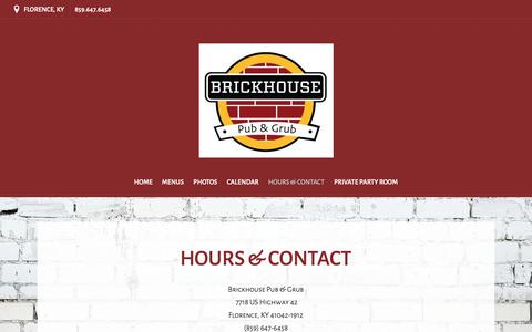 Screenshot of Hours Page flavorplate.com - Florence, KY Restaurant | Hours & Contact | Brickhouse Pub and Grub - captured Oct. 22, 2018