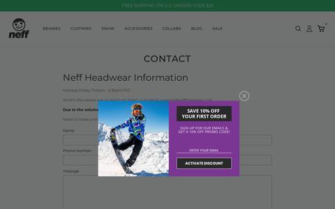 Screenshot of Contact Page neffheadwear.com - Contact                      | Neff Headwear - captured Feb. 8, 2020