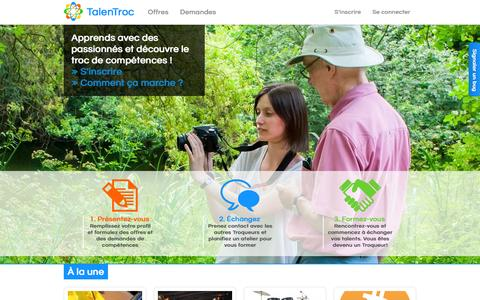 Screenshot of Home Page talentroc.com - TalenTroc | Le savoir de tous à disposition de chacun - captured Oct. 9, 2014