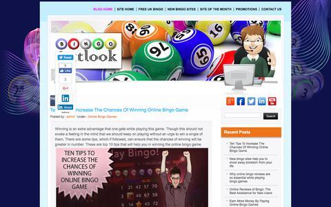 Screenshot of Blog bingooutlook.com - Bingo Blog is the Way to Know Bingo Stories - captured June 1, 2017