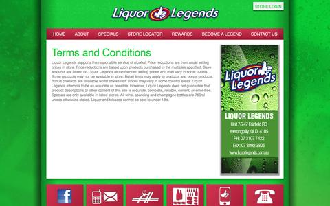 Screenshot of Terms Page liquorlegends.com.au - Terms and Conditions - Liquor Legends - captured June 8, 2016