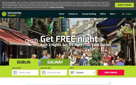 Screenshot of Home Page barnacles.ie - Hostel Dublin | Hostel Galway | Best Located Hostels In Ireland - Barnacles - captured Sept. 26, 2018