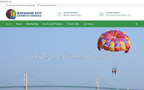Screenshot of Home Page mackinawchamber.com - Mackinaw City Chamber of Commerce - Official Website - captured Oct. 1, 2018