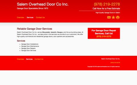 Screenshot of Services Page salemoverheaddoor.net - Garage Door Services - Salem Overhead Door Co Inc. - Salem - MA - captured July 10, 2018