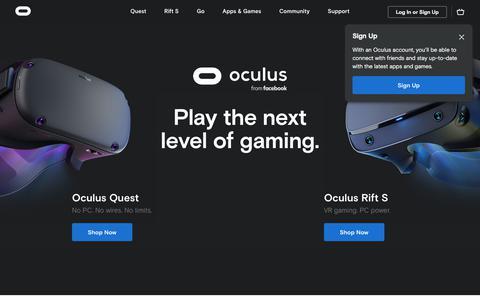 Screenshot of Home Page oculus.com - Oculus - captured Oct. 2, 2019