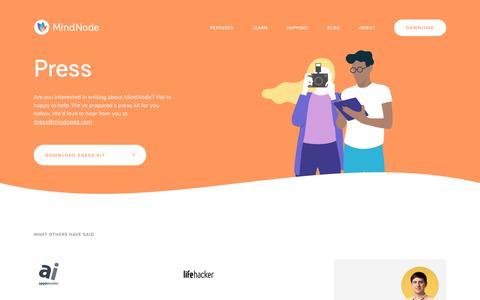 Screenshot of Press Page mindnode.com - Press - MindNode - captured Aug. 9, 2019