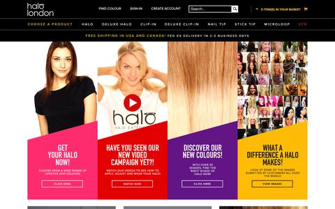 Screenshot of Home Page halohairextensions.com - Hair Extensions | Human and Clip In Hair Extensions - captured Sept. 11, 2015