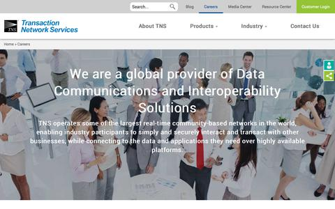 Screenshot of Jobs Page tnsi.com - Careers | TNS - Payment, Telecoms & Financial Data Solutions - captured Oct. 3, 2019