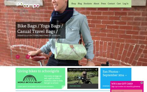 Screenshot of Home Page pocampo.com - Casual Bags & Cute Bike Accessories for Healthy Lifestyles | Po Campo | Functional & versatile handbags, shoulder bags and laptop bags with weatherproof fabrics and faux leather accents | Bike Bags | Yoga Bags | Casual travel bags - captured Sept. 30, 2014