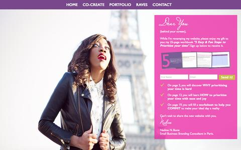 Screenshot of Home Page nadinenbone.com - Small Business Branding Consultant | Nadine N. Bone - captured Jan. 26, 2015