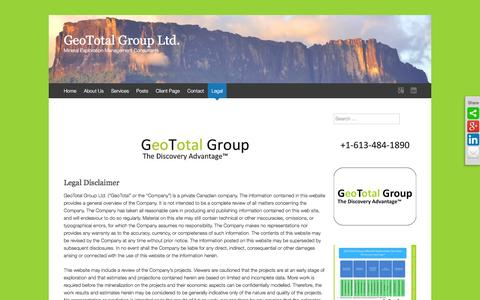 Screenshot of Terms Page geototalgroup.com - Legal Disclaimer - GeoTotal Group Ltd. - captured Feb. 9, 2016