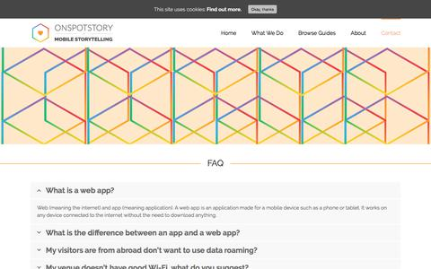 Screenshot of FAQ Page onspotstory.com - FAQ   Frequently asked Questions: What is a web app? - captured Oct. 20, 2017