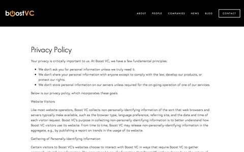Screenshot of Privacy Page boost.vc - Privacy Policy — Boost VC - captured Oct. 7, 2017