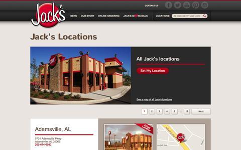 Screenshot of Locations Page eatatjacks.com - Find a Jack's Location | Jack's Family Restaurants - captured Oct. 6, 2014